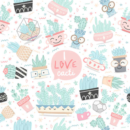 Seamless pattern with cactuses and succulents in cartoon style. Vector illustration.