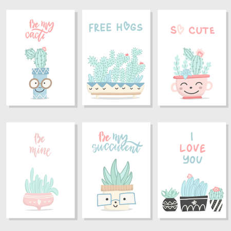 Set of cute hand drawn gift romantic postcards with succulents and cactuses. Collection of Valentine's Day card, invitation, poster. Vector illustration. Illusztráció