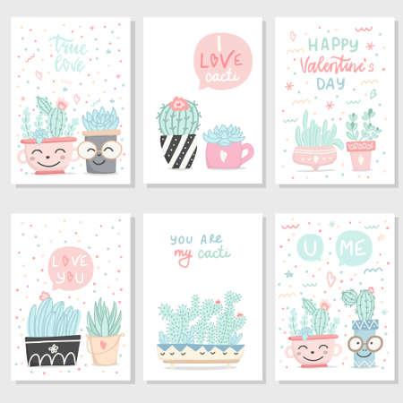 Set di cartoline romantiche regalo disegnato a mano carino con piante grasse e cactus. Collezione di biglietti di San Valentino, invito, poster. Illustrazione vettoriale.