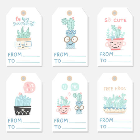 Set of cute hand drawn gift romantic tags with succulents and cactuses. Collection of Valentine's Day card, invitation, poster. Vector illustration. Illusztráció
