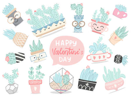 Set of hand drawn pastel colors cactuses and succulents, flower, leaves in cartoon style to Valentine's day. Vector illustration.