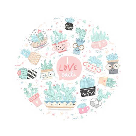 Set of hand drawn pastel colors cactuses and succulents, flower, leaves in cartoon style. Decorative elements, lettering to Valentine's day. Vector illustration.