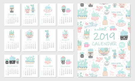 Calendar 2019. Set of cute hand 12 illustrations with succulents and cactuses. Vector illustration.