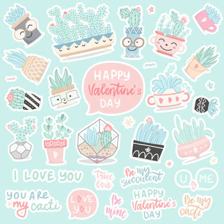 Set of hand drawn stickers with cactuses and succulents, flower, leaves, elements, lettering in cartoon style for Valentine's day. Vector illustration. Illusztráció