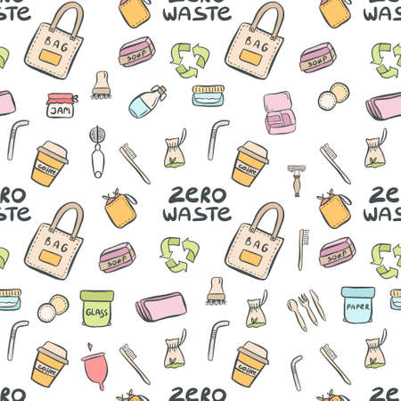 Hand drawn seamless pattern of zero waste life with lettering slogan in vector. Eco style. No plastic. Vector illustration Illusztráció