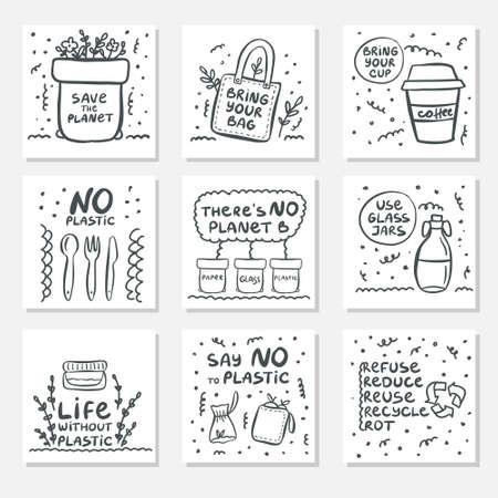 Set of hand drawn cards with zero waste life and lettering slogan. Eco style. No plastic. Vector illustration