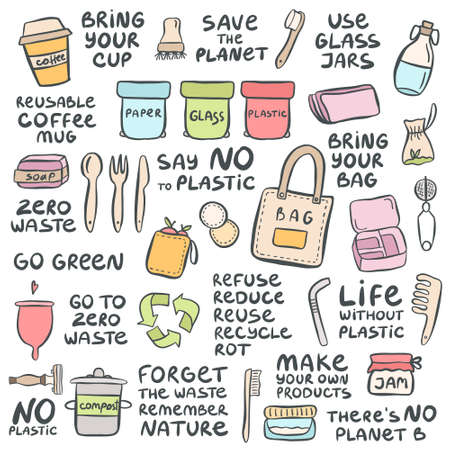 Set of hand drawn elements of zero waste life with lettering slogan. Eco style. No plastic. Vector illustration Illusztráció