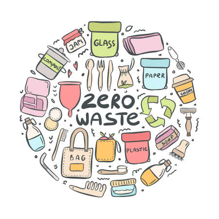 Set of hand drawn elements of zero waste life