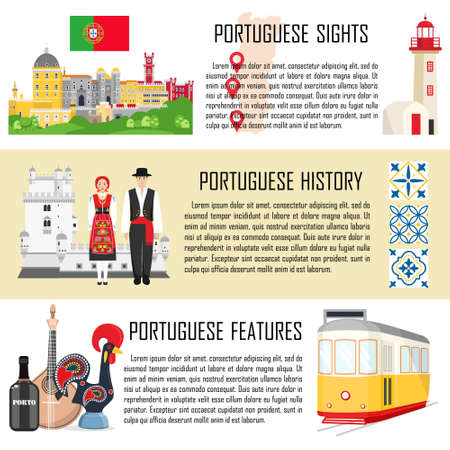 Portugal set with banners of traditional cuisine, history and national attractions Foto de archivo - 128778560