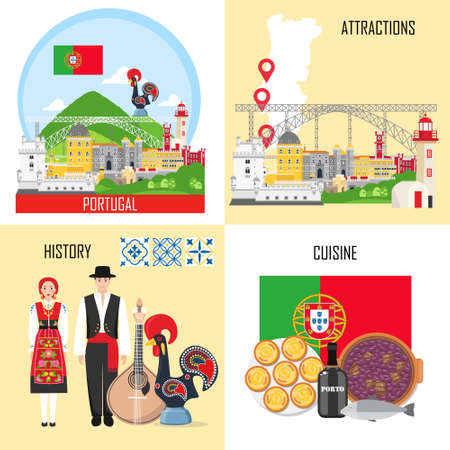Portugal set with traditional cuisine, history and national attractions Illusztráció