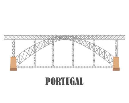 Brücke Dom Luis I, Porto. Portugal Wahrzeichen Reisesammlung. Vektor-Illustration