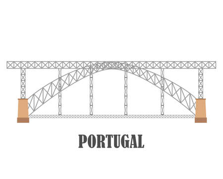 Dom Luis I Bridge, Porto. Portugal landmark travel collecton. Vector illustration Ilustrace