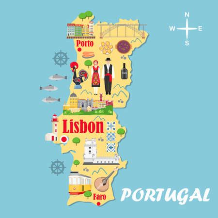 Stylized map of Portugal. Travel illustration with Portuguese landmarks