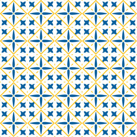 Vintage seamless pattern in Portugal style. Azulejo Stock Illustratie