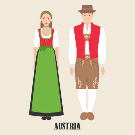 Austrians in national dress. Man and woman in traditional costume. Travel to Austria. People. Vector flat illustration.