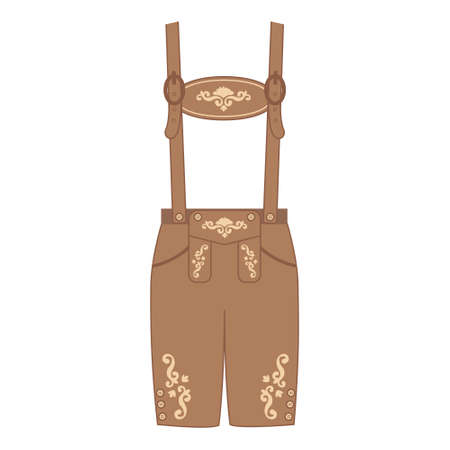 Traditional austrian and bavarian lederhosen, leather pants decorated with floral embroidery. Oktoberfest outfit. Vector flat illustration.