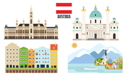 Austria with traditional symbols of architecture