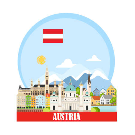 Cityscape with austrian landmarks Illustration