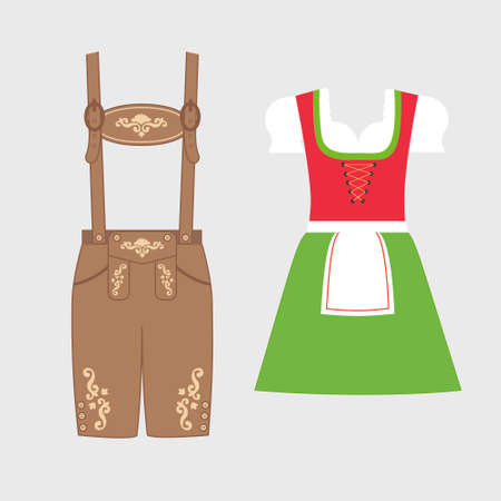 Traditionelle österreichische und bayerische Tracht. Lederhose und Dirndl mit Blumenstickerei verziert. Oktoberfest-Outfit. Flache Vektorgrafik