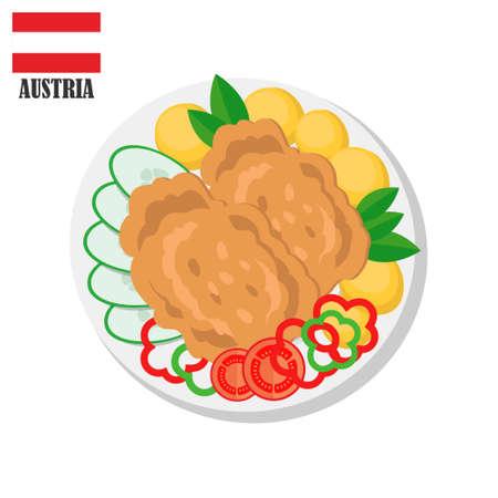 Austria Wiener Schnitzel cutlet. Traditional austrian food. Vector flat illustration