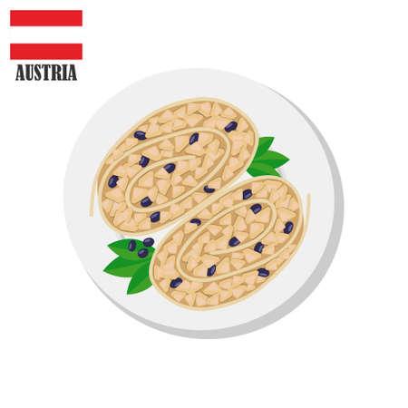 Sweet apple strudel with berries. Traditional austrian food dessert. Vector flat illustration
