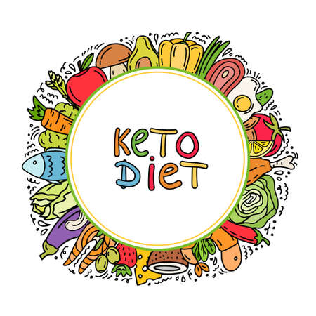 Handwritten lettering with low carbs ketogenic diet food Illustration