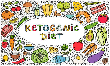 Keto diet hand drawn template background