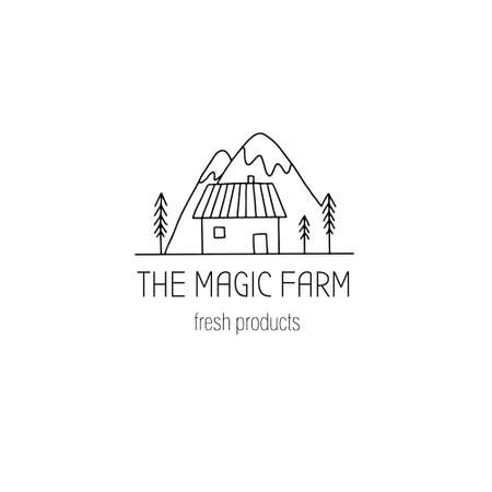 Hand drawn farm  in doodle style. Vector illustration