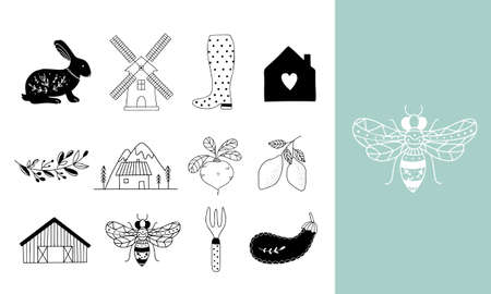 Hand drawn Farm icon set in doodle style. Vector illustration of animal husbandry, plant growing, tools and machines for farming and gardening