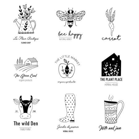 Hand drawn Farm  et in doodle style. Vector illustration of animal husbandry, plant growing, tools for farming and gardening