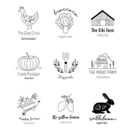 Hand drawn Farm set in doodle style. Vector illustration of animal husbandry, plant growing, tools for farming and gardening