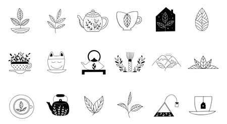 Hand drawn tea icon set in doodle style. Vector illustration