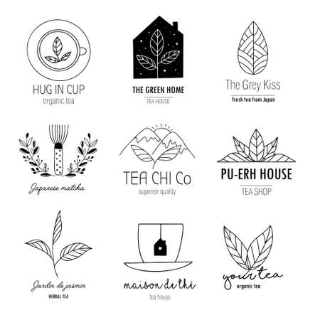 Hand drawn tea  set in doodle style. Vector illustration Illusztráció
