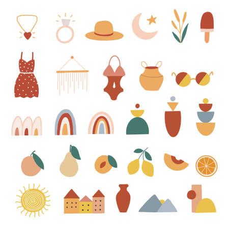 Hand drawn bohemian icon set in flat style. Vector illustration