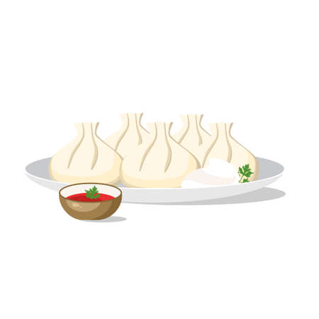 Khinkali traditional georgian dish on the plate with parsley. Vector illustration Иллюстрация