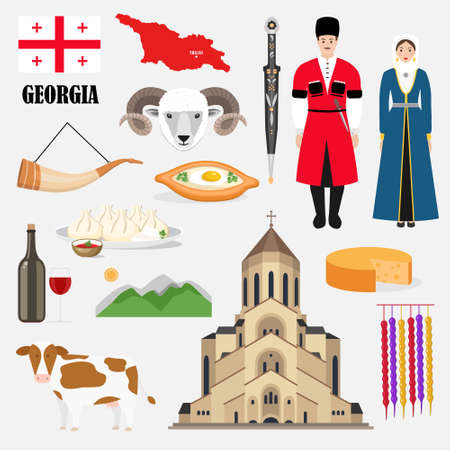 Georgian traditional symbols and sights set collection with food, architecture, symbols and traditional cloyhing. Vector illustration