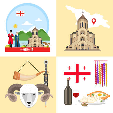 Georgia background set with georgian sights, features, history. Vector illustration