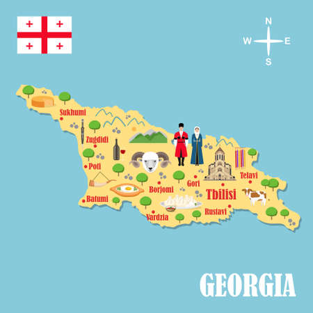 Stylized map of Georgia. Travel illustration with georgian landmark, costume, national flag, and other symbols in flat style. Vector illustration