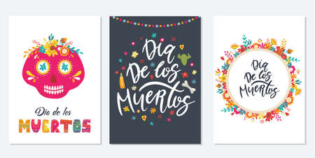 Dia de Los Muertos, Mexican Day of the Dead. Set of greeting cards with hand drawn lettering, flowers, skulls on dark blue and white background. Vector illustrations Illustration