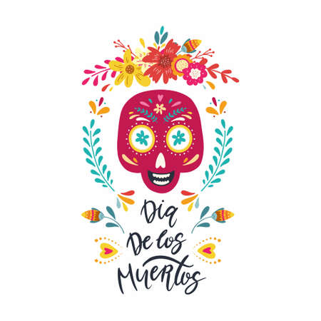 Dia de los muertos, Day of the dead, Mexican holiday banner, card