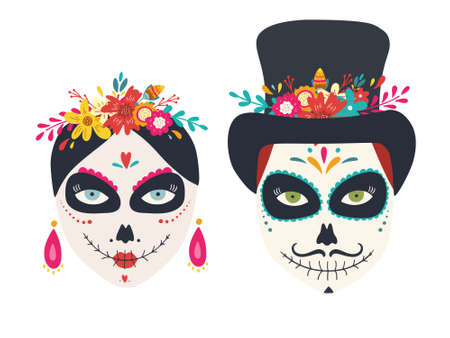 Sugar skulls of woman and man Dia de los muertos, Day of the dead