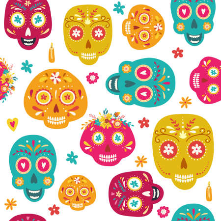Day of the Dead seamless pattern with sugar skulls and flowers. Dia de los Muertos (tramslate - Day of the Dead) background