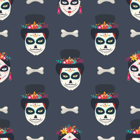 Day of the Dead seamless pattern Illusztráció