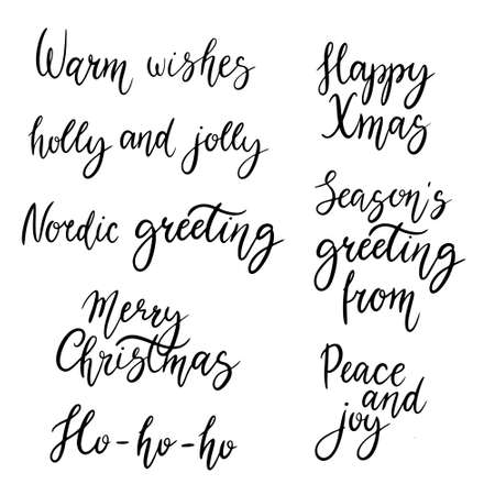 Christmas calligraphy phrases. Hand drawn design elements