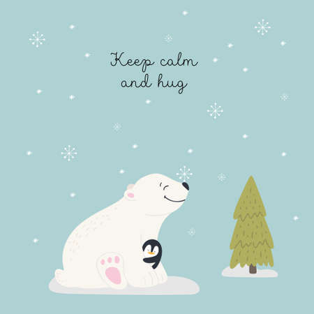 Christmas card with animals, hand drawn style. Polar bear and penguin hugsl. Vector illustration. Illusztráció