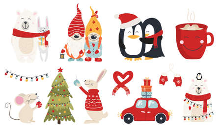 Christmas collection with cute animals and decorative elements. Characters hugs hand drawn. Vector illustration Illusztráció
