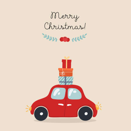 Christmas card with car, hand drawn style. Car with gifts. Vector illustration.
