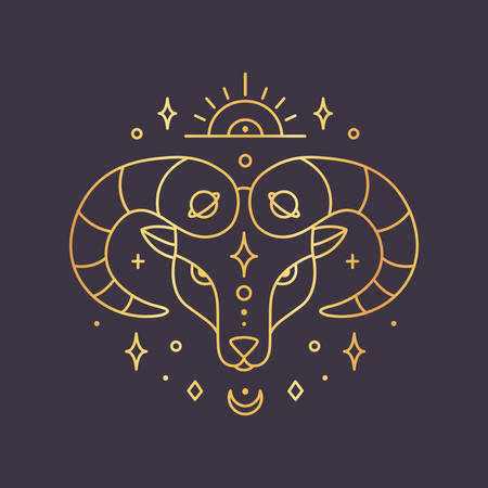Aries zodiac sign, horoscope symbol golden. Vector illustration