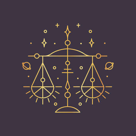 Libra zodiac sign, horoscope symbol golden. Vector illustration