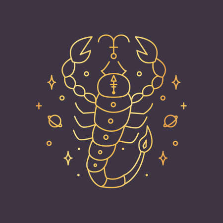 Scorpio zodiac sign, horoscope symbol golden. Vector illustration